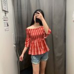 Red Plaid Off-Shoulder Blouse | Miyeon – (G)I-DLE