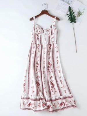 Momo Red Floral Print Strap Dress (1)