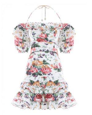 Nayeon Halter Floral Print Ruffled Dress (1)