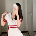 Striped Tie Waist White Dress | Nayeon – Twice