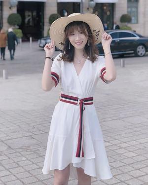 Nayeon Striped Tie Waist White Dress (3)