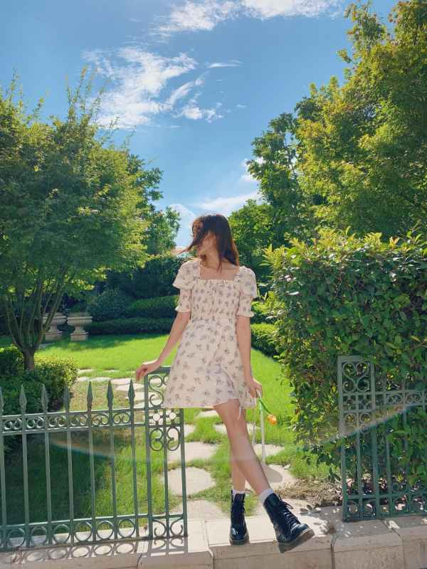 Lilac Flowers Puff Sleeve Dress   Rose – BlackPink