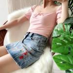 Square Collar Ribbon Crop Top   Yeri – Red Velvet