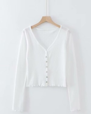 Lisa Low-cut Neckline Buttons Cardigan Shirt (14)