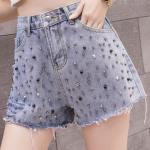 Beads Studded Blue Denim Shorts   Ryujin – ITZY