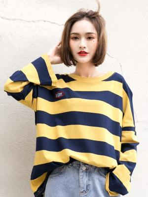 Seulgi Yellow Striped Long Sleeve Shirt (4)