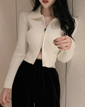 Solar White Double Zipper Collared Jacket (2)
