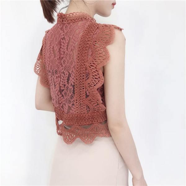 Black Sleeveless Openwork Lace Crop Top | Tzuyu – Twice