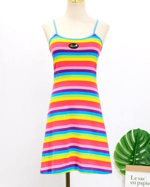 Hyuna Rainbow Striped Cami Dress (5)