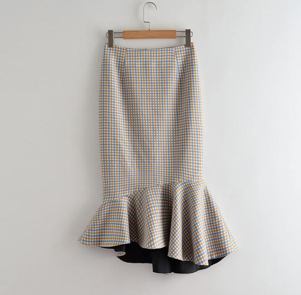 Plaid Fish Tail Skirt | IU – Hotel Del Luna
