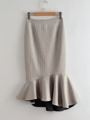IU Plaid Fish Tail Skirt (2)