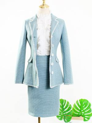 IU Ruffled Blouse, Pastel Blue Blazer & Skirt (4)