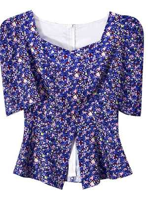 IU Squared Blue Flower Shirt (2)