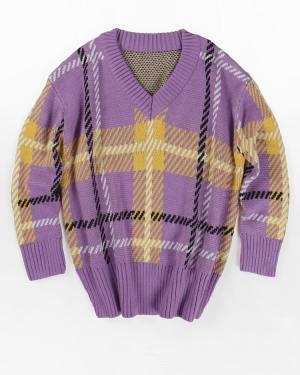 Jeongyeon Lilac and Yellow V-Neck Plaid Sweater (8)