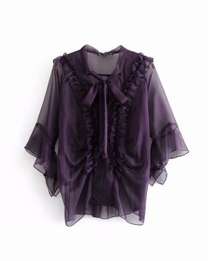 Jisoo Transluscent Ruffled Ribbon Tie Blouse (6)