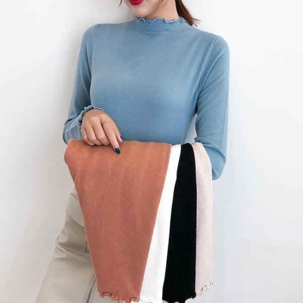 Half-high Collar Lettuce Edges Long Sleeve Shirt | Momo – Twice