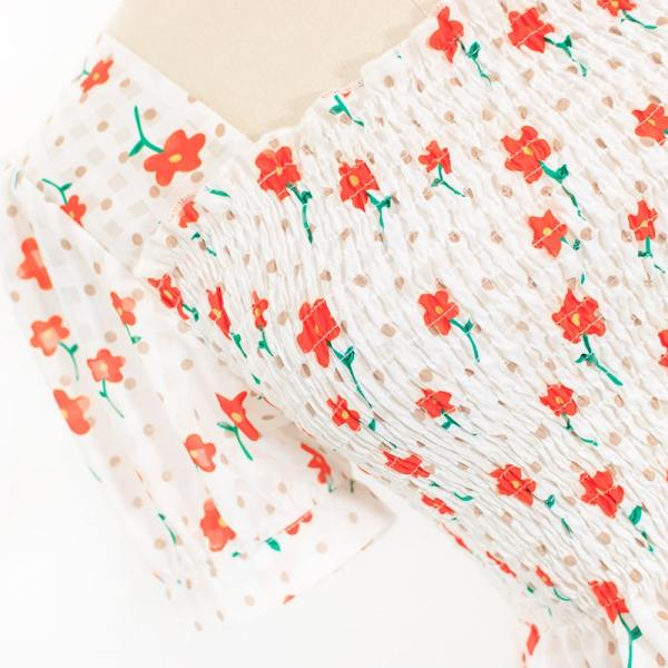 Floral Square Collared Doll Shirt | Wendy – Red Velvet