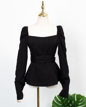 Jennie Striped Black Waist Tie Blouse (1)