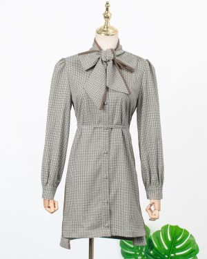 Jisoo Classic Retro Plaid Dress (1)