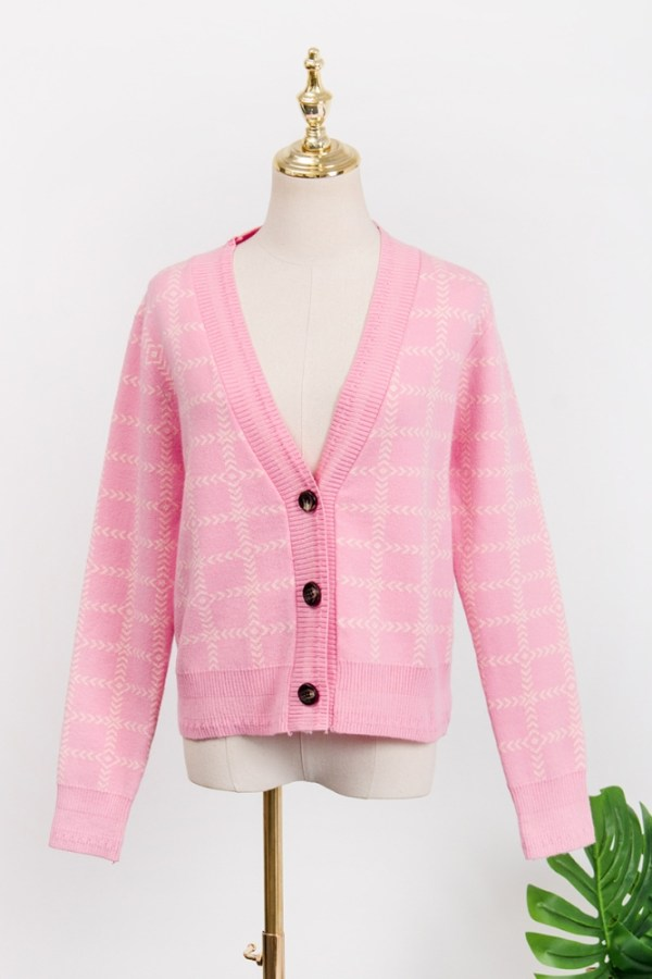 Pink Plaid Short Cardigan | Lisa – BlackPink