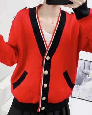 Lisa Red Black Buttoned Cardigan (9)