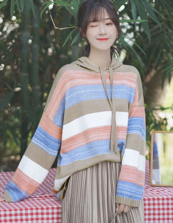 Loose Striped Multicolored Hoodie