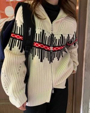 Nayeon Loose Stand Collar Knit Jacket (4)