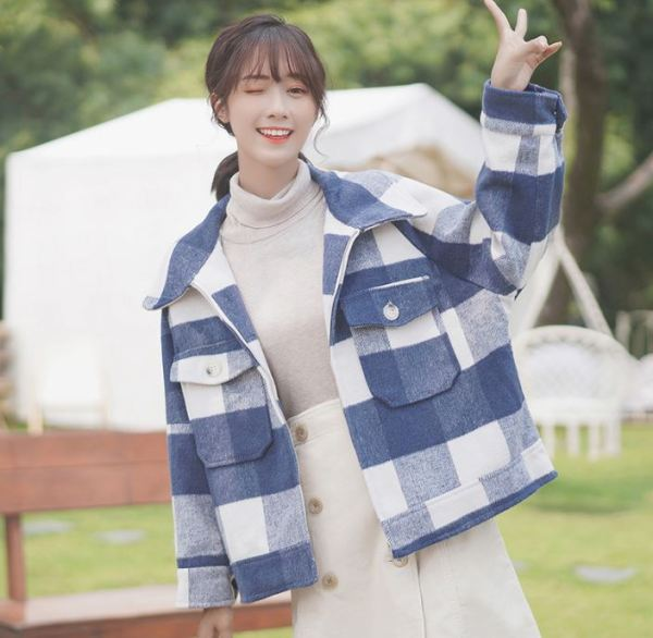 Plaid Design Zipper Coat