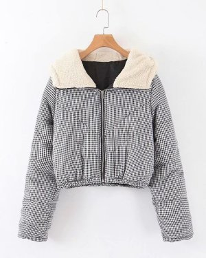 Rose Plaid Zipper Hooded Jacket (1)