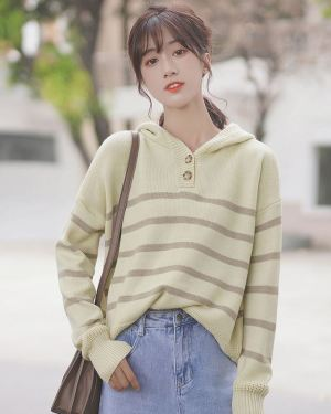 Striped Beige Hoodie With Buttons (1)