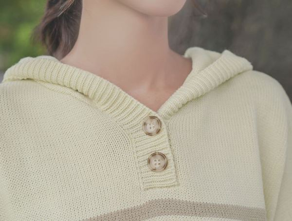 Striped Beige Hoodie With Buttons