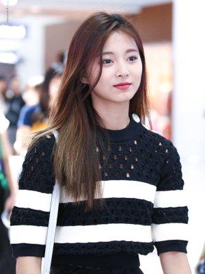 Black White Striped Sweater With Holes | Tzuyu – Twice