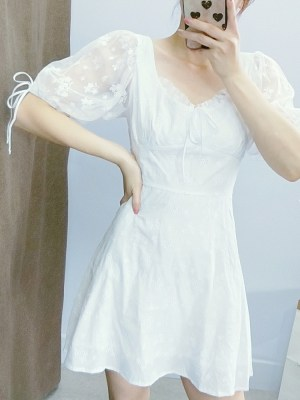 Wendy Puff Sleeve Lace Embroidered White Dress (3)