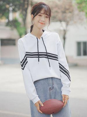 White Hoodie With Diagonal Stripes (1)