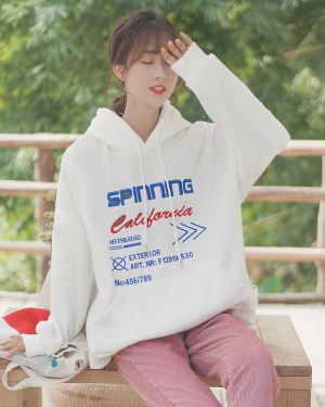 "White Oversized ""Spinning California"" Hoodie"