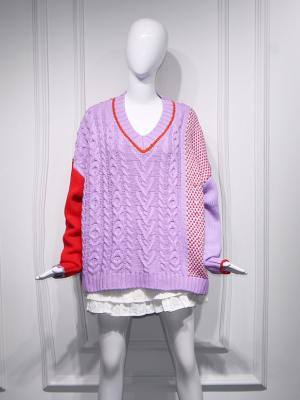 Yuqi Lilac Red Loose Knit Sweater (1)