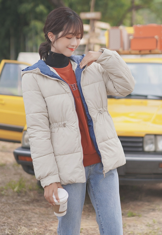 Apricot Thick Hooded Warm Cotton Jacket