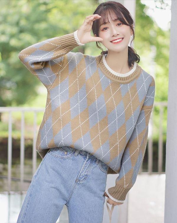 Argyle Patterned Sweater