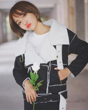Black Thick Fur Collar Jacket (4)