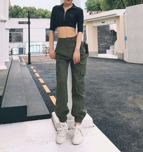 Green High Waist Cargo Pants