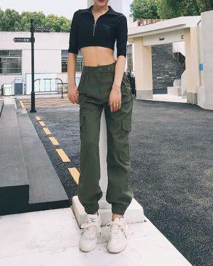 Green High Waist Cargo Pants (1)
