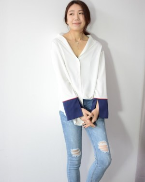 Irene White Blouse With Blue Cuffs (2)
