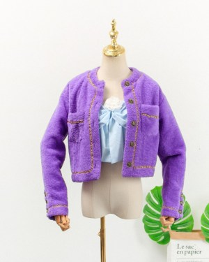Jennie Blue Ribbon Sling Top & Lilac Chain Outlined Cardigan (1)