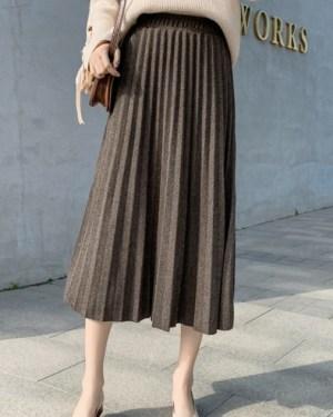 Joy Pleated Long Skirt (4)