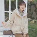 Korean Fluffy Zipper Hoodie Jacket