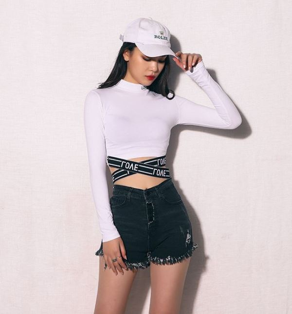 Long Sleeved Crop Top With Asymmetric Ribbons