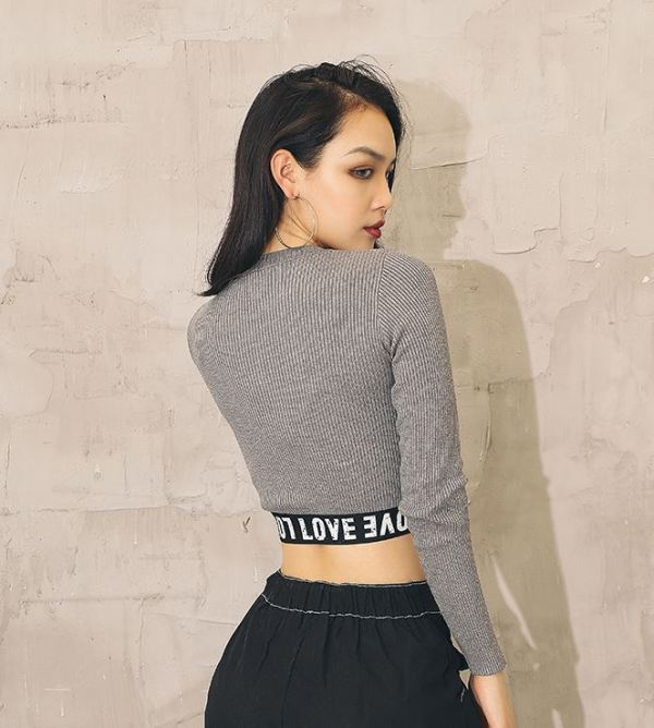 Love Cropped Elastic Sweater