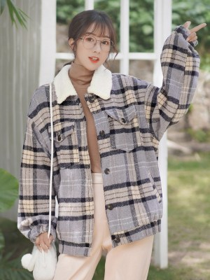 Plaid Lilac Buttoned Wool Jacket (12)