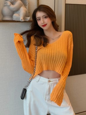 Soojin Orange V-Neck Rib Thin Sweater (11)