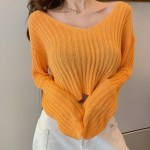 Orange V-neck Rib Thin Sweater | Soojin – (G)I-DLE